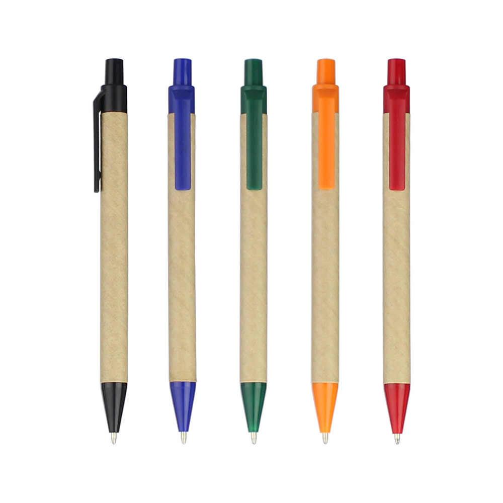 Эко бумажная шариковая ручка, пластиковый зажим, черные чернила Шариковая зеленая концепция Экологичная, заказной рекламный подарок, дисплей логотипа