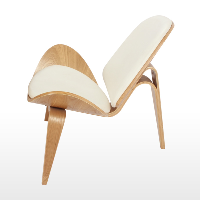 Hans Wegner Style Three Legged Shell Chair Ash Plywood White Faux Leather Living Room Furniture Modern Lounge In Chairs From