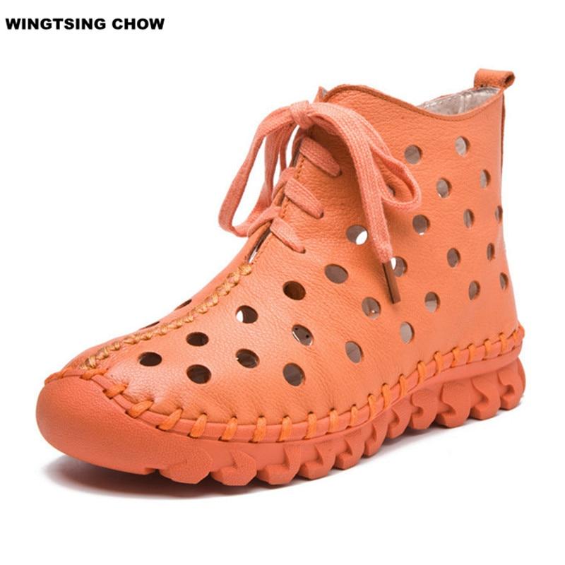 ФОТО 2017 New Hollow Summer Boots Soft Leather Shoes Women Comfortable Handmade Women Moccasins Flat Shoes High Top Flat