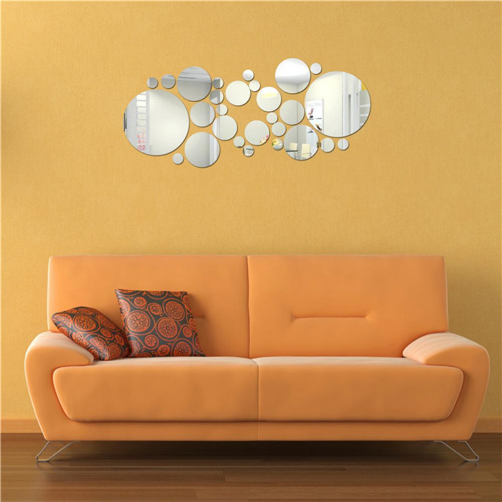 Image 4 - 30pc/set DIY Small Round Point Acrylic Mirror Effect Sticker Wall Sticker Mirror Surface Wall Stickers Home Decoration 2 Colors-in Wall Stickers from Home & Garden