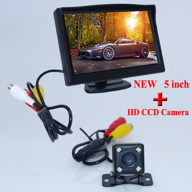For all kinds of car parking use 5 TFT car rear reversing monitor with 4 led lights car parking camera plastic shell material
