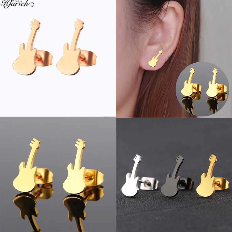 Hfarich Rose Violin Shape Stud Earrings Colorful Guitar Stainless Steel Earring Musical Charming Design Earrings For Women Gift