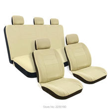 8PCS Mesh Car Seat Covers Full Set Solid Tan  Airbag Compatible Detachable Headrests & Breathable Materials Tan Black IASC006