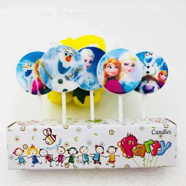 5pcslot Disney Frozen Anna And Elsa Round candle Party Decorations