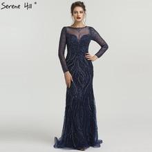 SERENE HILL Long Sleeve Navy Blue grey Mermaid Dresses