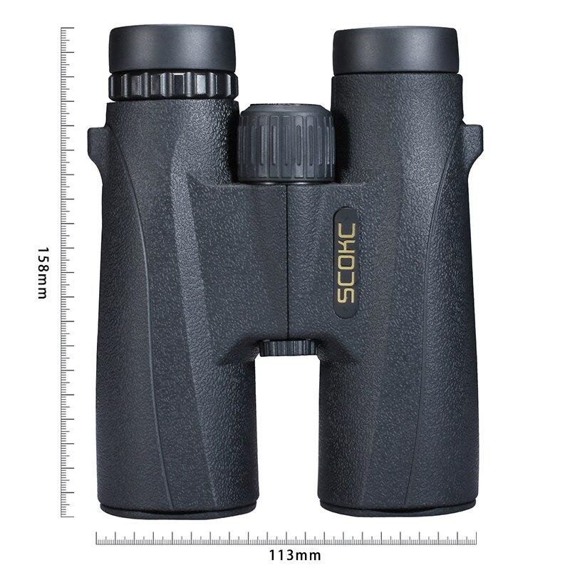 SCOKC 10X42 jumelles compactes pour l'observation des oiseaux télescope militaire HD pour la chasse et le voyage avec sangle haute Vision claire noir