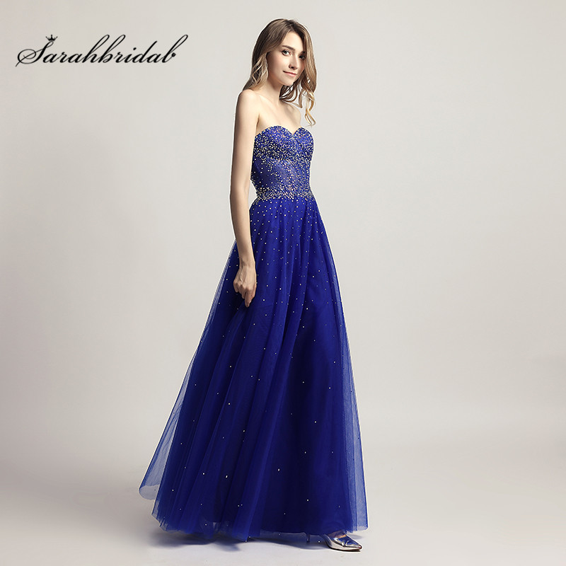 Stunning Modern Long Evening   Dresses   With Zipper Back Strapless Sleeveless Sexy   Prom   Gowns Floor Length Beaded Tulle CC464