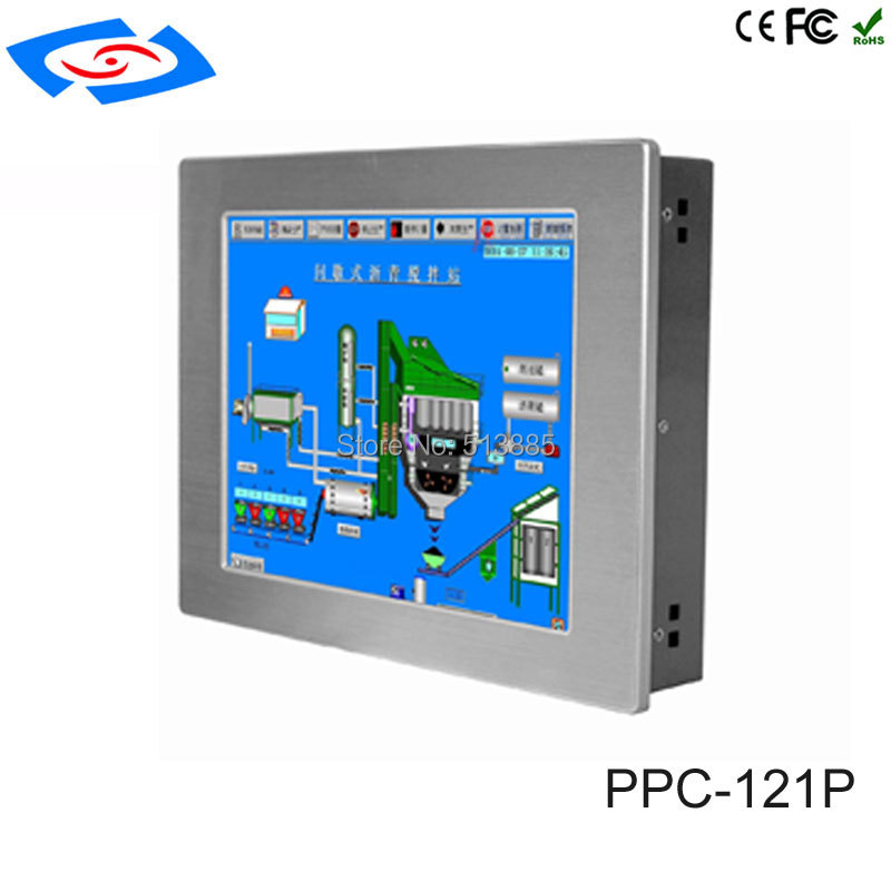 New Fanless 12.1 Inch With 2*LAN Touch Screen Industrial Panel PC