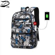 FengDong USB зарядки 15.6 дюймов ноутбук рюкзак для мальчика школьный мужчины черный Рюкзак мужской рюкзак средней школы мальчиков школьные сумки
