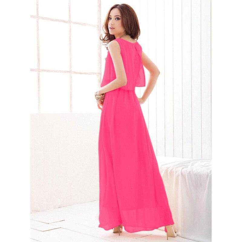 c6ebc0a65314 Hot Sale 2015 Women Summer Chiffon Maxi Dress Cute Ruffle Long Dress Black  Pink Green Grey 8 Colors Plus Size Vestido-in Dresses from Women s Clothing  on ...