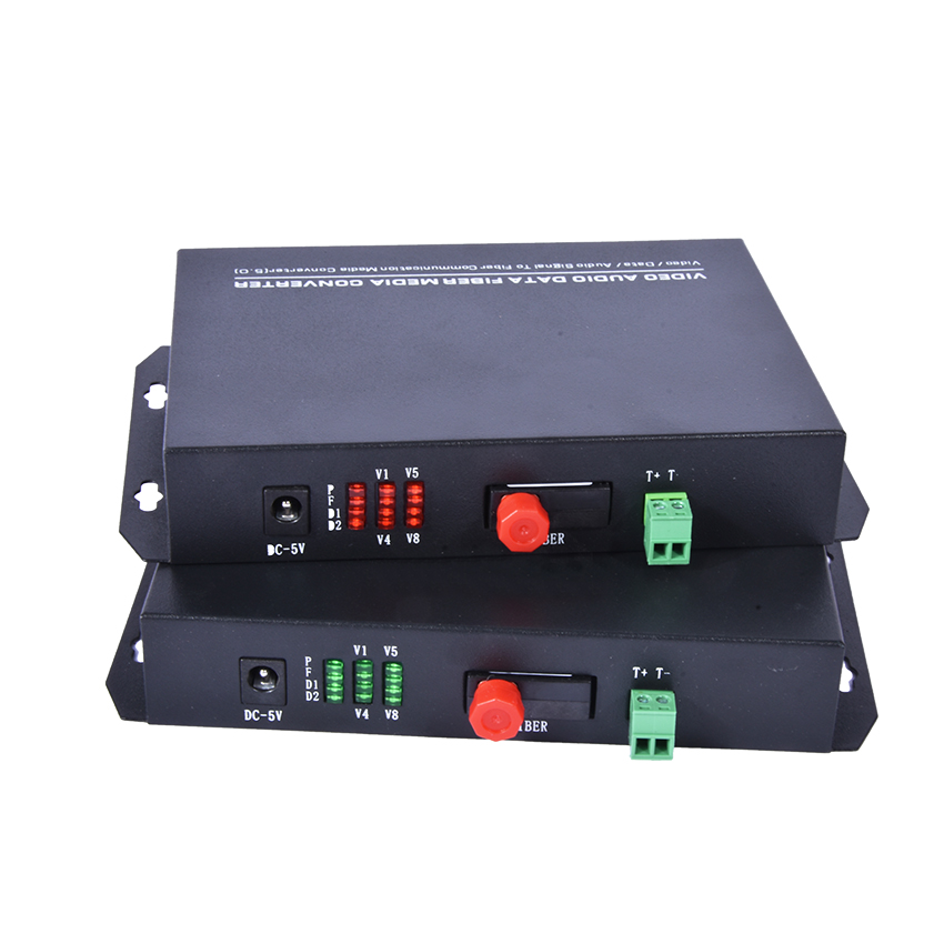 цена на 1PC 8 Channel Video Optical Converter fiber optic video optical Transmitter & Receiver 8CH with RS485 Data For CCTV Security