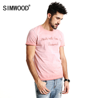 SIMWOOD 2017 Summer New T Shirt Men 100 Pure Cotton Vintage Letter Embroidered Slim Fit Tops