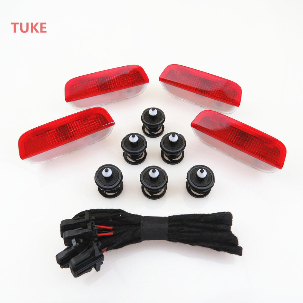 TUKE 1Set Car Door Plate Warning Lights + Fixed Clip&Lnstall Harness For VW Passat Sharan Golf Jetta Superb 3AD947411 7L6868243 1pcs car door plate warning lights for vw cc sharan touareg passat cc b6 b7 golf jetta mk5 mk6 seat alhambra 3ad 947 411