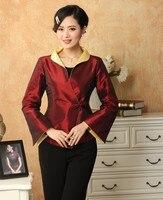 New Arrival Burgundy Spring Chinese Women's Silk Satin Jacket Coat Flowers Plus Size S M L XL XXL XXXL J1054