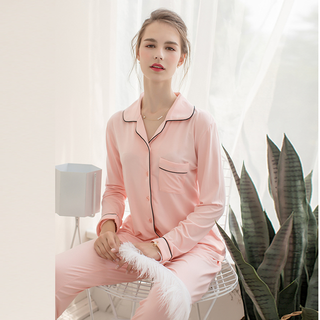Women and Men Lovers Bamboo Cellulose Fiber Modal Cotton Jersey Sleepwear  Home Wear Loungewear pajama Sets with Long Pants 0d7d683db