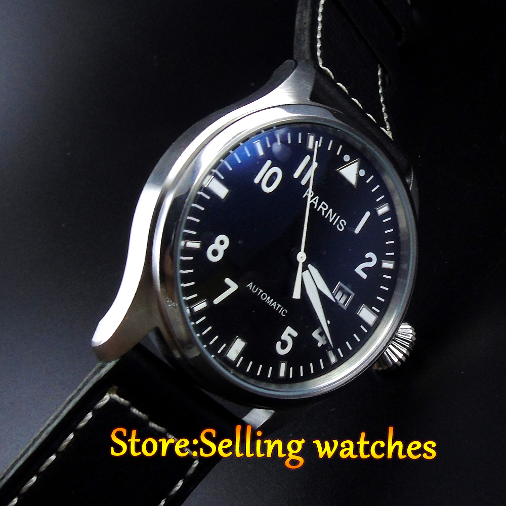 47mm Parnis Black dial white mark Luminous 2551 Automatic movement Mens watch wristwatch47mm Parnis Black dial white mark Luminous 2551 Automatic movement Mens watch wristwatch