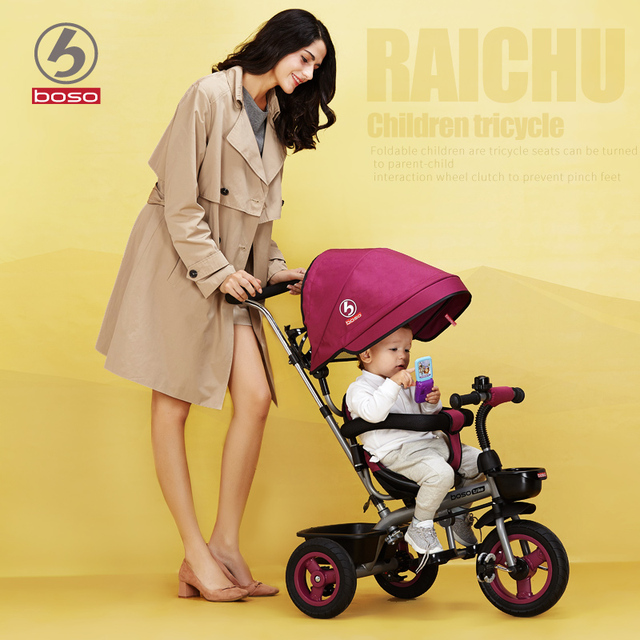 Boso Thunder child tricycle upgrade front clutch basket baby walker non inflatable titanium wheel bike bicyle