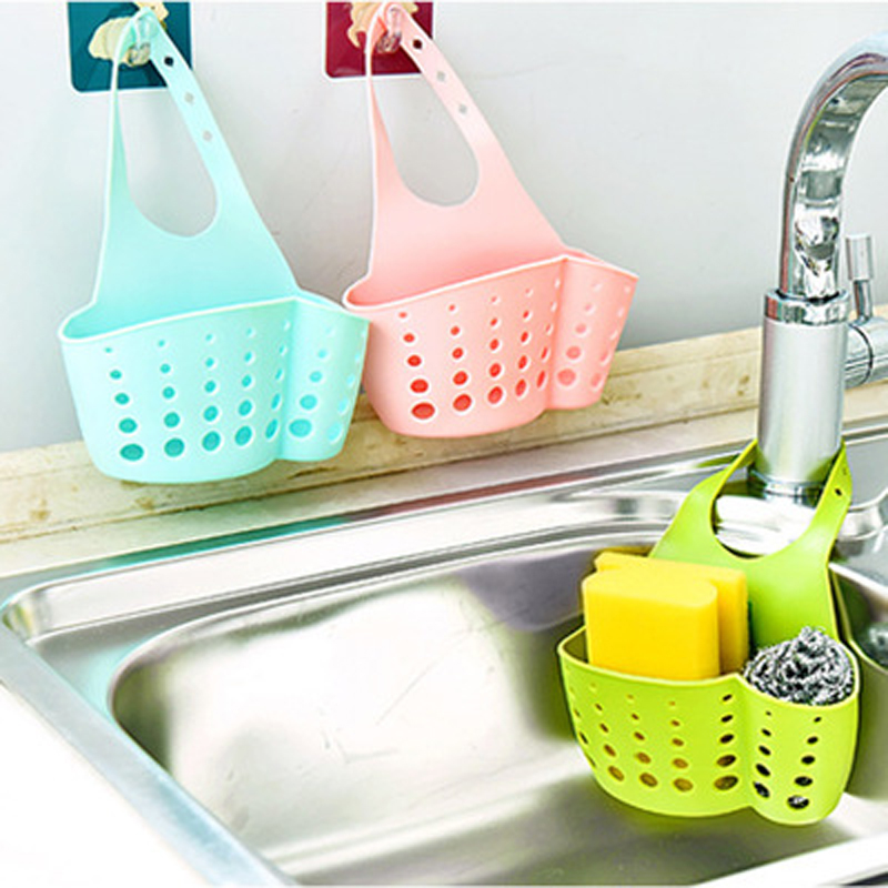 Kitchen Organizer Sponge Storage Hanging Basket Drainer Kitchen Sink Adjustable Snap Sink Rack Hanging Bathroom Accessories