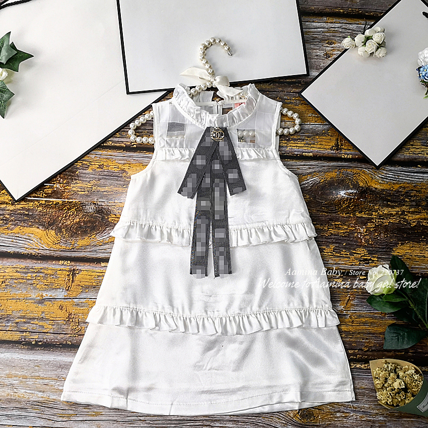 16003 With Brooch Ruffles Princess Baby Girl Dresses Summer Brand Party Wedding Kid Dress For Girl Wholesale Baby Girl Clothes(China)