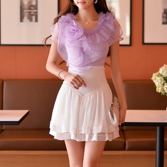 Original New 2016 Brand Plus Size Summer Slim Casual Elegant ChiffonTutu Skirt Women Wholesale