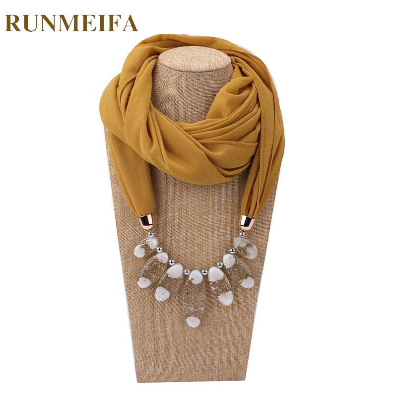 [RUNMEIFA] HOT Decorative Scarf Women Solid Color Chiffon Necklace Resin Beads Pendant Scarf New Style Muslim Head Scarves Hijab