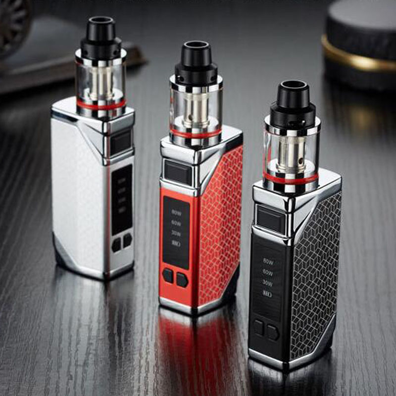 Electronic <font><b>Cigarette</b></font> 80W Adjustable Wattage Led Light Display Vape <font><b>Mod</b></font> Box Kit 2200mah 2.8ml Atomizer Tank Vaporizer Vapor image