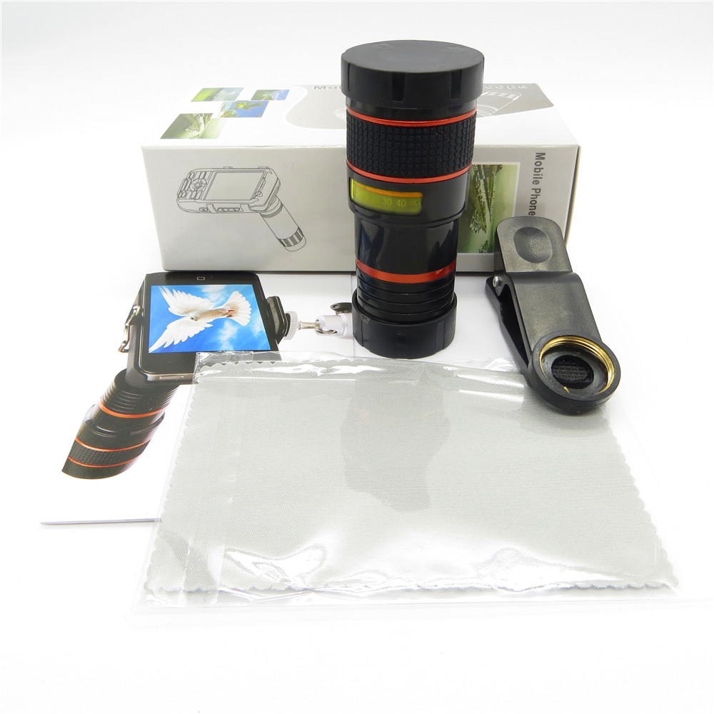 Universal 8X optisk zoom teleskop kameralins klipp mobiltelefon - Reservdelar och tillbehör för mobiltelefoner