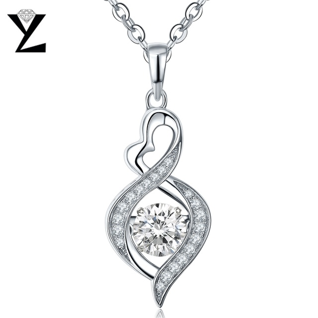 YL 925 Sterling Silver Necklace Woman Topaz Fine Jewelry Dancing Natural Stone Heart Pendant Necklaces For Wedding Engagement