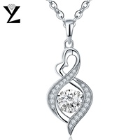 YL 925 Sterling Silver Necklace Woman Topaz Fine Jewelry Dance Natural Stone Heart Pendant Necklaces For