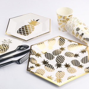 RiscaWin Золотая фольга ананас одноразовая посуда бумажные тарелки для вечеринки/чашки для свадьбы, дня рождения, вечеринки, товары для взрослы...