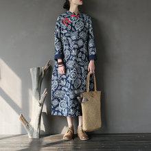Dress Cheongsam Winter Long-Sleeve Chinese-Style Vintage White-And-Blue Autumn Women