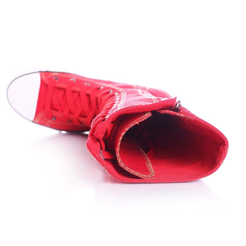 red black White Mujeres Niñas Lona Altas Planos Zapatos 2017 Botas Colores black Cm Plus Ayuda Cremallera Cm Rodilla Cm 3 Las 5 Casuales Nueva Punk red white 2 Alta Moda De 0f1Hq