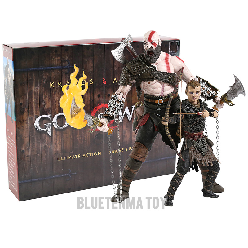 God of War figure toy Kratos & Atreus Ultimate KO's NECA Axe Shield Son Loki set PVC Action Figure Model Toy