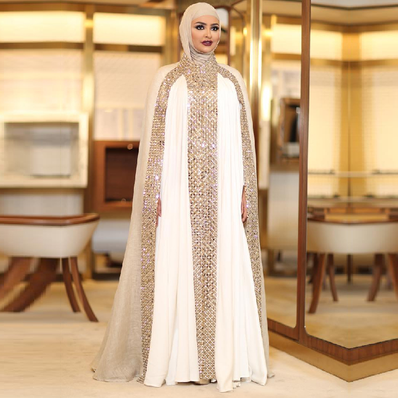 Dubai Kaftan Arabic Islamic Muslim Evening Dresses Long Sleeves White and  Champagne Rhinestone Evening Party Gowns Vestido Longo-in Evening Dresses  from ... 3a9171f7859e