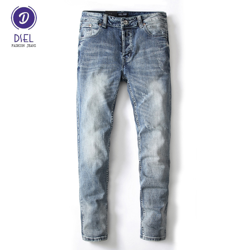 Italian Style Fashion Mens Jeans Retro Design Classic Slim Fit Denim Jeans For Men DSEL Brand Elastic Stretch Biker Jeans Pants classic design famous brand jeans men 99%cotton fashion denim mens jeans slim fit high quality straight italian jeans for men