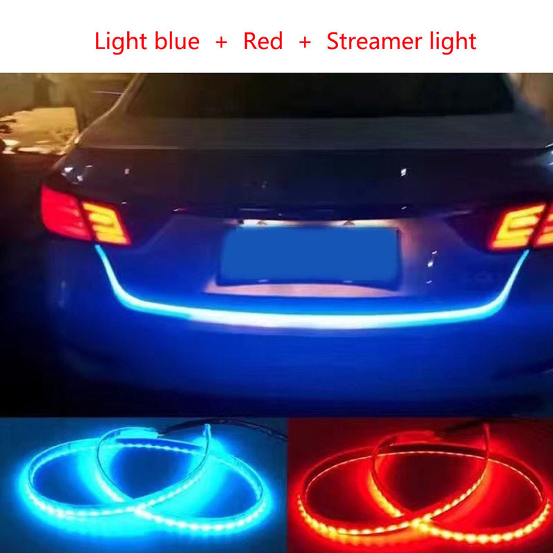 NEW 2 Color Blue Red Flexible Flow Type Flowing LED Strip Car Trunk DRL Side Turn Signal Rear Light DC 12V new 2 pcs car led daytime running light turn signal light flowing yellow steady auto flexible styling strip crystal led bar drl