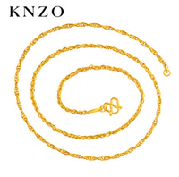 Solid 999 24K Yellow Gold Necklace / Double O wire strand Chain Water corrugated clavicle Necklaces / 2.89g