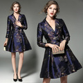 High Quality European Style Elegant Party Dresses 2017 Spring Fashion Women Vintage Print Jacquard Dress Hot Sale