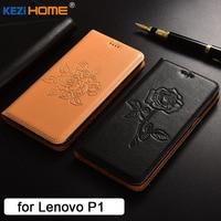 Lenovo Vibe P1 Case Flip Embossed Genuine Leather Soft TPU Back Cover For Lenovo P1 Coque