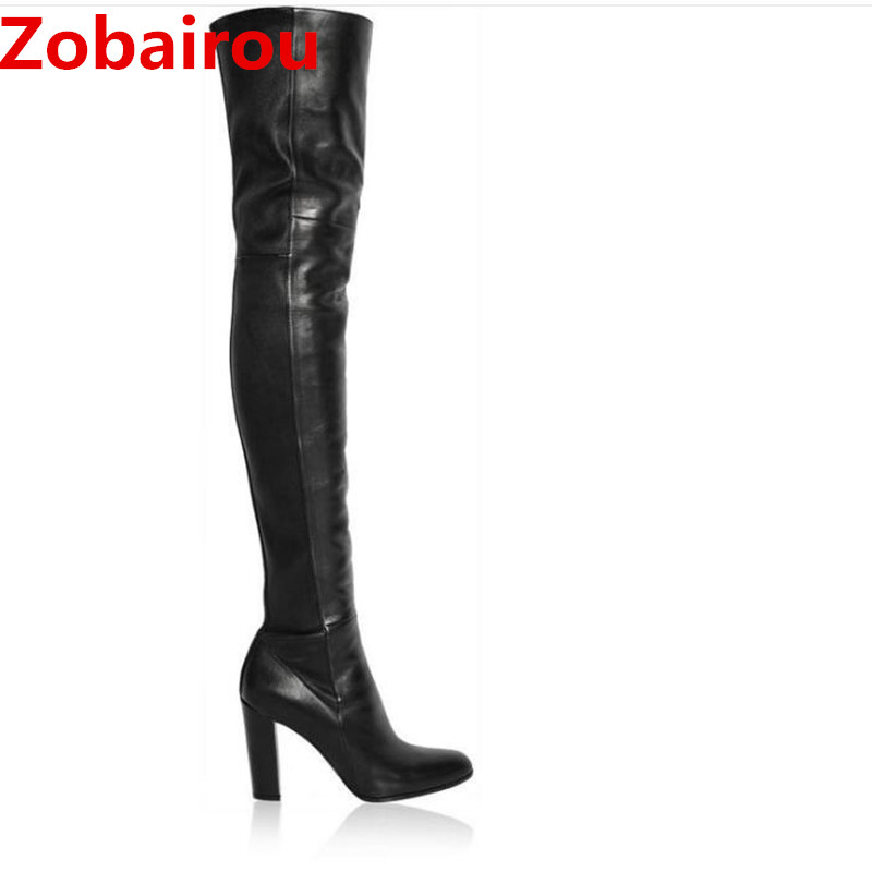 Bota feminina Luxury Women 10 Cm High Heels Black Overknee Thigh High Boots Leather Stockings Chaussure FemmeBota feminina Luxury Women 10 Cm High Heels Black Overknee Thigh High Boots Leather Stockings Chaussure Femme