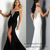Vestido лонго де феста элегантный длинная вечерние платья черный белый красный пром платье кристаллы глубокий круглый разрез официальный плат
