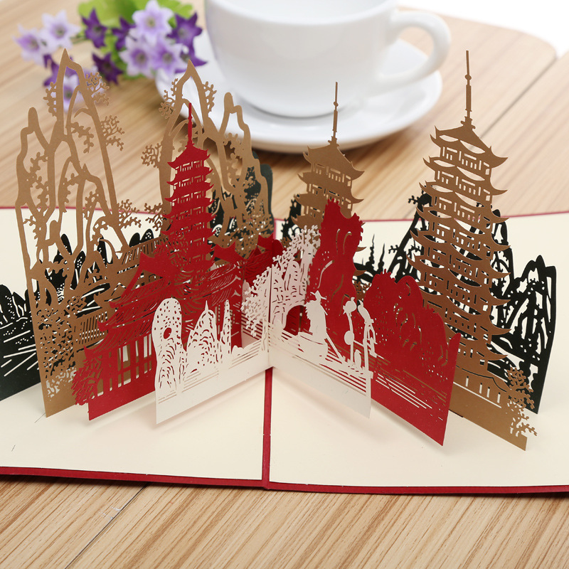 Factory direct Guilin City silhouette 3D stereo hollow paper card card hot spots of Creative Tourism the construction of taj mahal tourism 3d cubic life manual paper card card creative stereo
