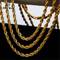 Mens Ladies 6mm 24K Gold Plated Hip Hop Rope Chain Necklace 24 30 36