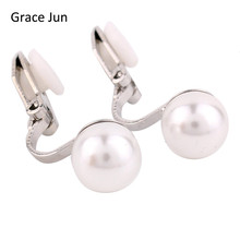 Grace Jun 4 colors New simulated pearl clip on earring no pierced for women wedding luxury bridal earring bijouterie 8mm&12mm