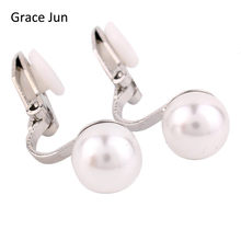 Brinco de pérola grace jun 4 cores, novo modelo de clipe de pérola no brinco sem piercing para mulheres casamento luxo noivado bibrinco 8mm & 12mm