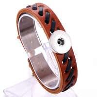 24 CM Justierbares Snap Armband Vintage Webart Echt Leder Armband Fit 18mm Druckknopf Armband Für Frauen Schmuck 9376