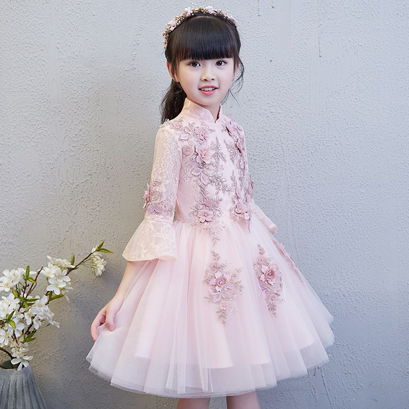 4 Colors Flare Sleeve Flower Girl Dresses for Wedding Stand Collar Kids Pageant Dress Birthday Ball Gown Girls Formal Dress K09 chic stand collar 3 4 sleeve striped shirt dress for women