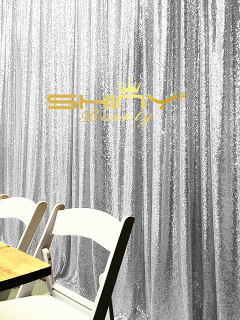 ShinyBeauty Silver Sequin Curtains 2ftx7ft Backdrop For Wedding Photo Booth Christmas DecorationDrapes