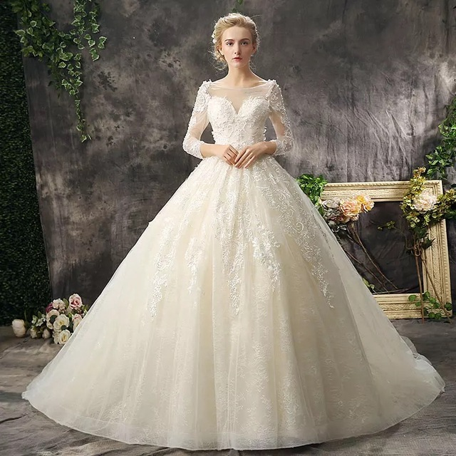 2017 New Wedding Dress Lace Up Beading Perfect Champagne Color ...