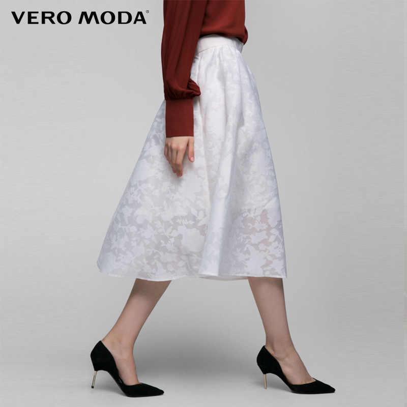 VERO MODA бренд 2018 Новый офис леди стиль аппликации невидимый молнии A-Line женские изящные до колен женские юбки 316116030